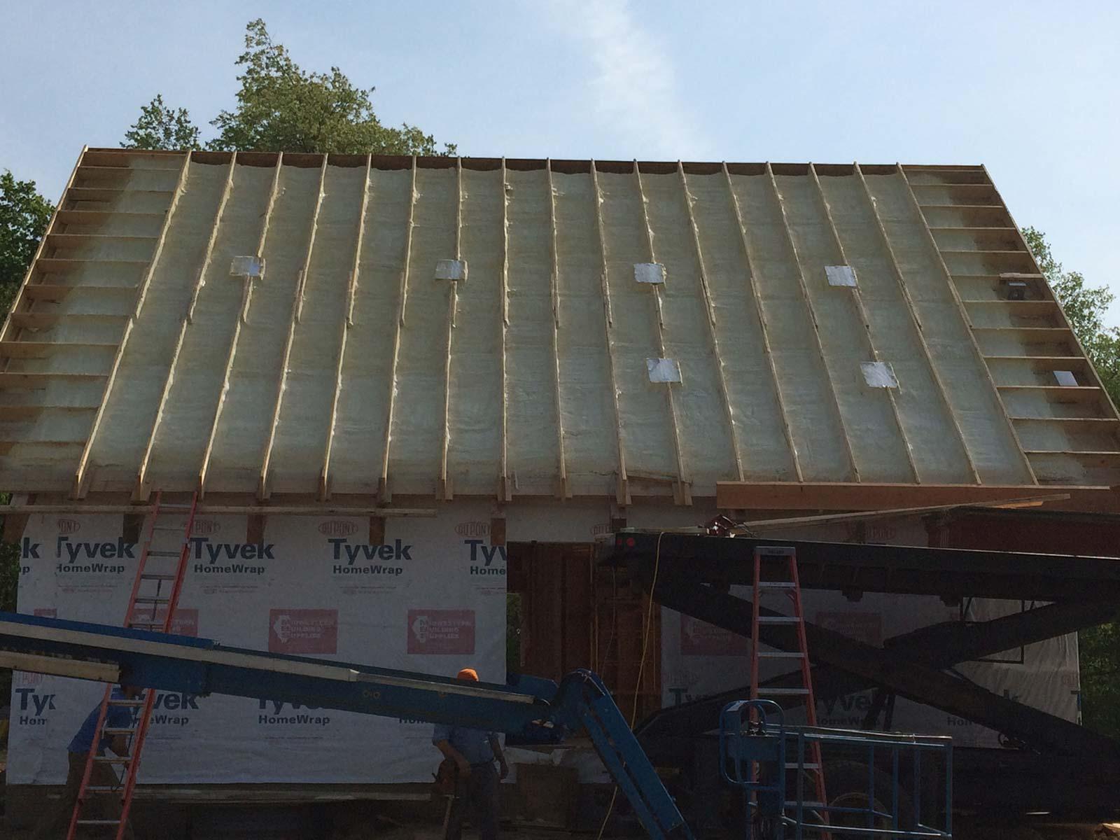 Log Cabin Spray Roof Deck